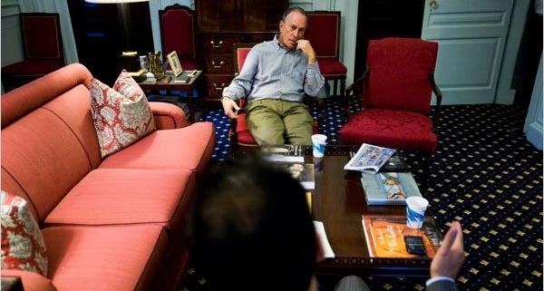 Mayor Blookberg at home getting tutored in Spanish