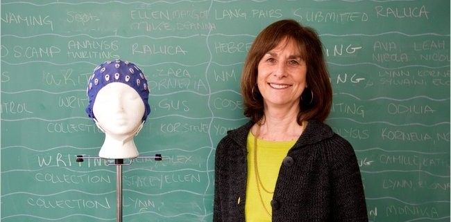Ellen Bialystok with a neuroimaging electrode cap. Photo: Chris Young for The New York Times