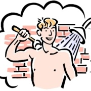 A cartoon of a Spanish man in the shower