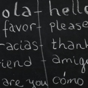 a spanish lesson on a blackboard