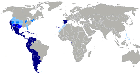Map of countries speaking Spanish including USA