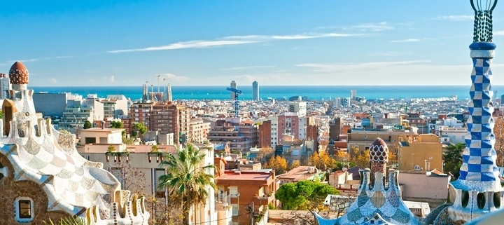 A cityscape view of Barcelona Spain