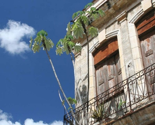 View of a balcony from a historic Latin American home in Bogota Colombia