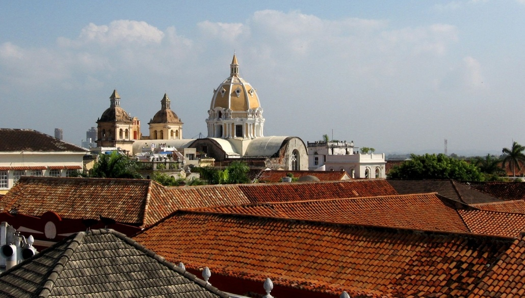 Picture of Latin American Catholic Church from the rooftop in Cartegena, Colombia. Taking NYC Spanish classes for travel.